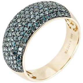 Ring 585 Gelbgold Diamanten blau