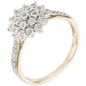 Ring 585 Gelbgold + Weißgold Diamanten