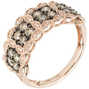 Ring 585 Roségold Diamanten Brown Sugar