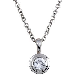 Anhänger Kette 925 Sterling Silber AAAZirkon weiß