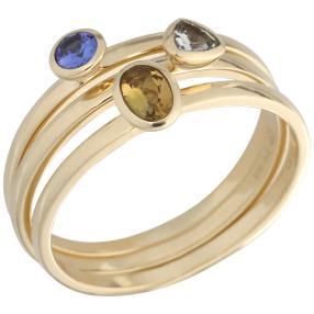 3er Set Ringe 375 Gelbgold AAATansanite