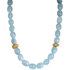 Collier Milky AAAquamarin, Pyrit