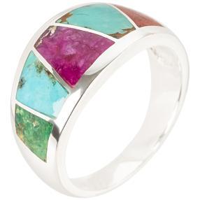 Ring 925 St. Silber multicolor Türkis stabilisiert