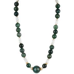 Collier Achat grün Mondstein Magnetverschluß