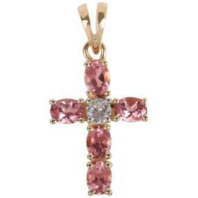 Kreuzanhänger 585 Gelbgold Turmalin pink