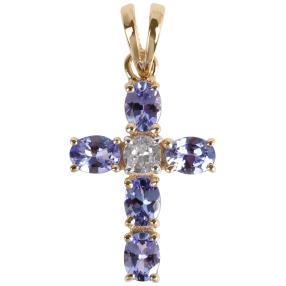 Kreuzanhänger 585 Gelbgold Tansanit