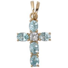 Kreuzanhänger 585 Gelbgold Zirkon blau