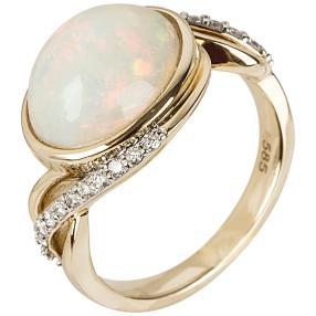 Ring 585 Gelbgold Äthiopischer Opal, weiß