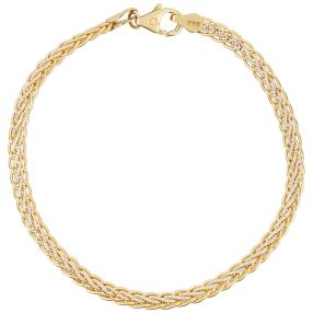 Armband Zopfdesign 585 Gelbgold bicolor
