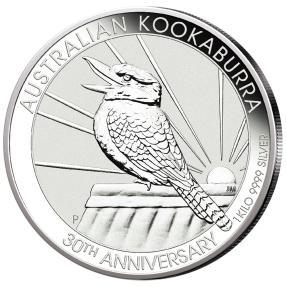 Silberkilo Kookaburra mit 65 ct Blautopas