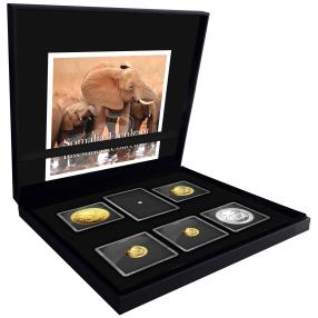 1,85 oz Goldmünzenset Elefant mit 1 ct Brillant