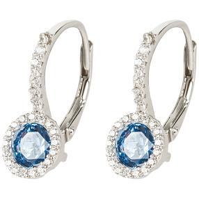 Ohrhänger 925 Sterling Silber Zirkonia, blau