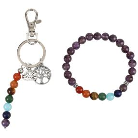Set Chakra Armband und Schlüsselanhänger