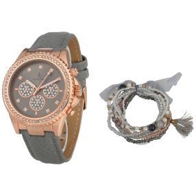 Set crystal blue Damenuhr Kristalle + 9 Armbänder