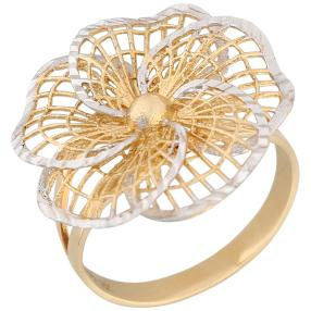 Ring Blüte 585 Gelbgold, bicolor