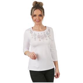 Shirt 'Happy' mit Strassmotiv white