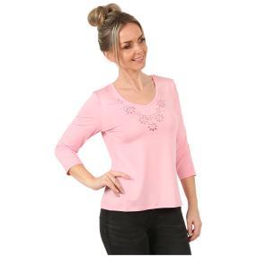 Shirt 'Lucky' mit Strassmotiv light rose