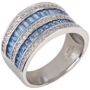 Ring 925 St. Silber Zirkonia swiss blue