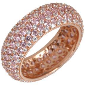 Ring 925 St. Silber rosévergoldet Zirkonia pink
