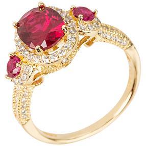 Ring 925 St. Silber vergoldet Zirkonia rot