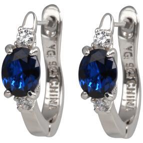 Creolen 925 Silber Zirkonia blue
