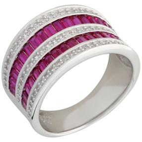 Ring 925 Sterling Silber Zirkonia rubinrot