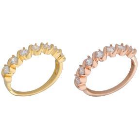 Set Ringe 925 Silber rosé+gelbvergoldet Zirkonia
