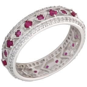 Ring 925 Sterling Silber Zirkonia rubinrot, weiß