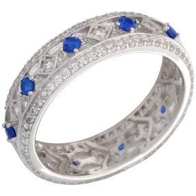 Ring 925 Sterling Silber Zirkonia blue