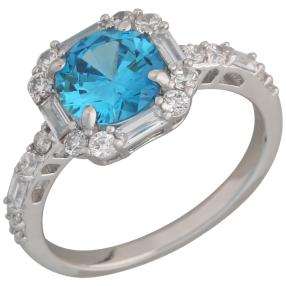 Ring 925 Sterling Silber Zirkonia swiss blue