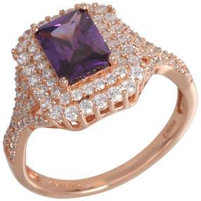 Ring 925 Sterling Silber rosé Zirkonia flieder