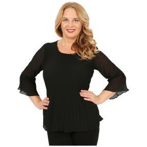 IMAGINI Damen-Plissee-Bluse schwarz