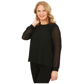IMAGINI Damen-Plissee-Bluse mit Strass schwarz