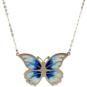 Kette Schmetterling 585 Gelbgold, ca. 45 cm, blau