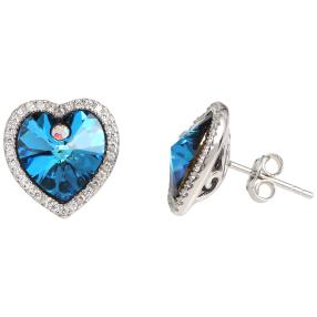 Ohrstecker 925 Silber, Swarovski® Kristalle blau