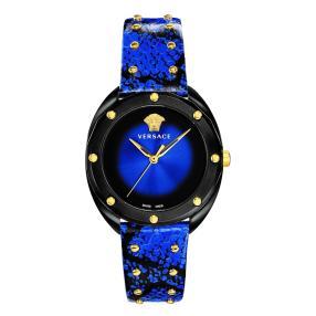 """Versace Damenuhr """"Shadov"""" Quarz Lederband blau"""