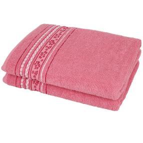 Duschtuch 2-teilig, Blumen rosa