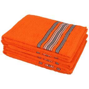 Handtuch 4tlg. Streifen orange, 50x100 cm