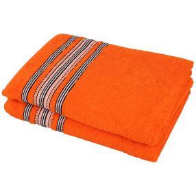 Duschtuch 2tlg. Streifen orange, 70x140 cm