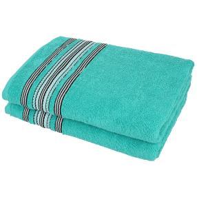 Handtuch 4tlg. Streifen smaragd, 50x100 cm