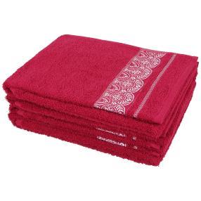 Handtuch Spitze 4-teilig, beere/weiß