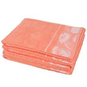 Handtuch Blätter 4-teilig, koralle/weiß