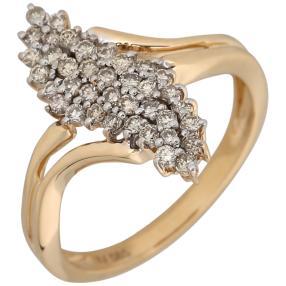 Ring 585 Gelbgold 38 Champagner Brillanten