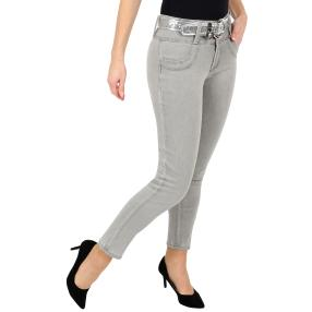 "Jet-Line Damen-Jeans ""Loved Grey"", Gürtel grey"