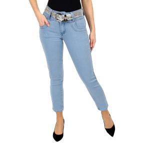 "Jet-Line Damen-Jeans ""Loved Blue"", Gürtel blue"