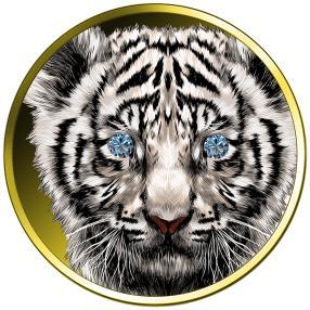1 oz. Gold Weißer Tiger Blauer Diamant VS+