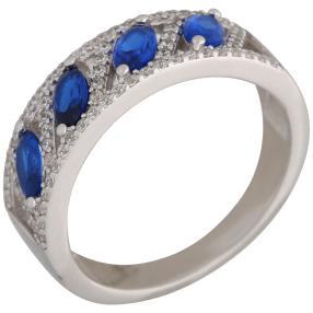 Ring 925 Sterling Silber Zirkonia blau+weiß