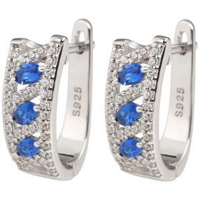 Creolen 925 Sterling Silber Zirkonia blau+weiß