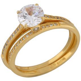 Set Ringe 925 St. Silber vergoldet Zirkonia