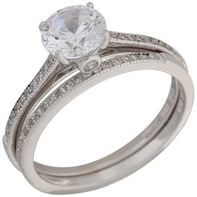 Set Ringe 925 Sterling Silber Zirkonia